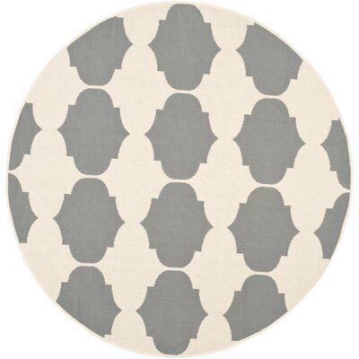 Short Beige/Anthracite Contemporary Rug Rug Size: Round 53