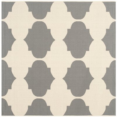 Short Beige/Anthracite Contemporary Rug Rug Size: Square 53