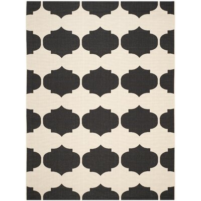 Short Beige/Black Contemporary Rug Rug Size: 67 x 96