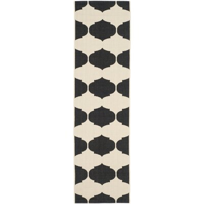 Short Beige/Black Contemporary Rug Rug Size: Runner 23 x 12