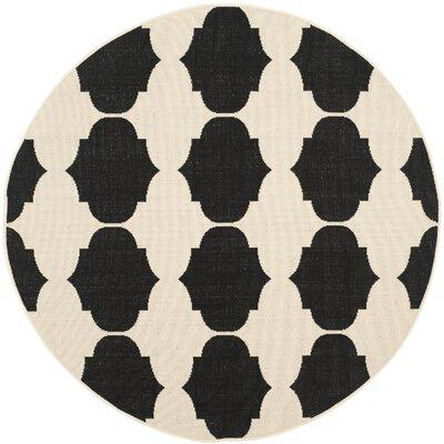 Short Beige/Black Contemporary Rug Rug Size: Round 53