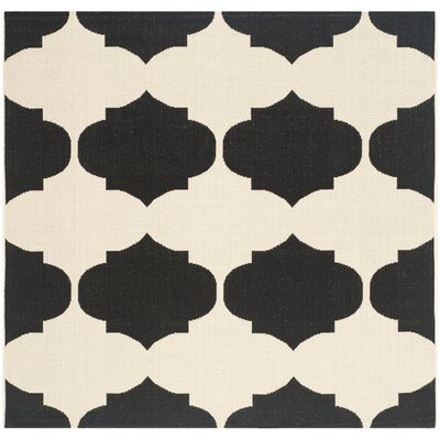 Short Beige/Black Contemporary Rug Rug Size: Square 53