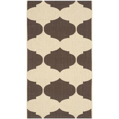 Short Beige/Chocolate Contemporary Rug Rug Size: Rectangle 4 x 57