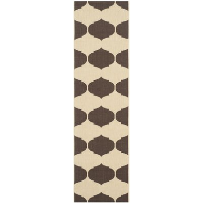Short Beige/Chocolate Contemporary Rug Rug Size: Runner 23 x 8