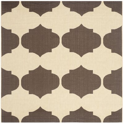 Short Beige/Chocolate Contemporary Rug Rug Size: Square 53