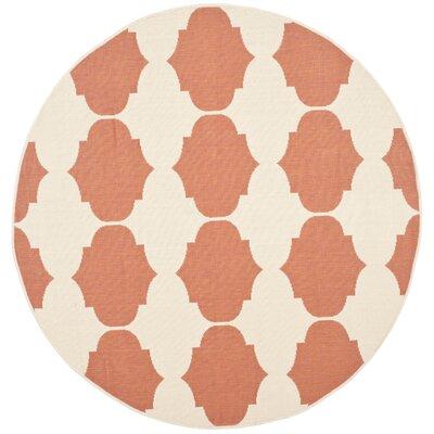 Short Beige/Terracotta Contemporary Rug Rug Size: Round 53