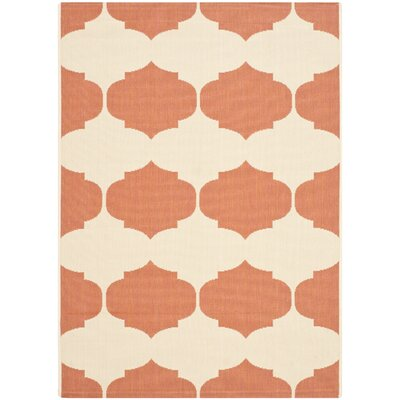 Short Beige/Terracotta Contemporary Rug Rug Size: Rectangle 4 x 57