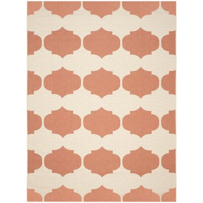 Short Beige/Terracotta Contemporary Rug Rug Size: Rectangle 9 x 12