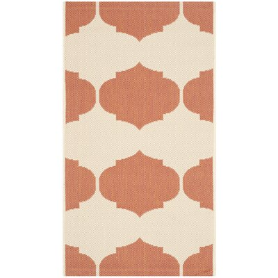 Short Beige/Terracotta Contemporary Rug Rug Size: Rectangle 2 x 37