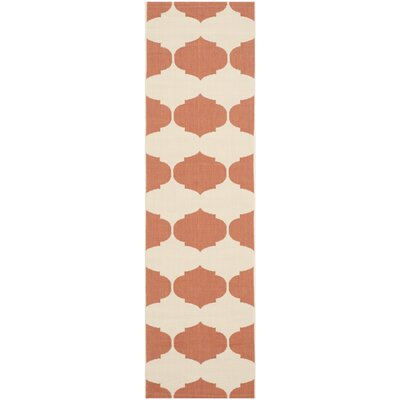 Short Beige/Terracotta Contemporary Rug Rug Size: Runner 23 x 8