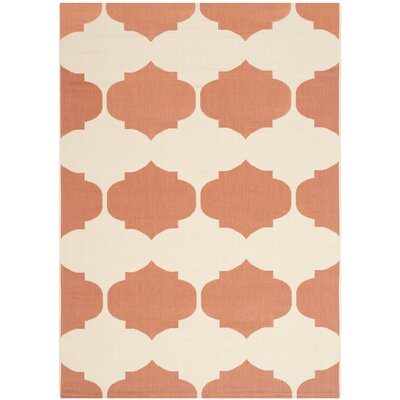 Short Beige/Terracotta Contemporary Rug Rug Size: 53 x 77