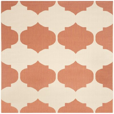 Short Beige/Terracotta Contemporary Rug Rug Size: Square 53