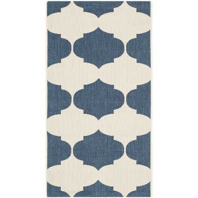 Short Beige/Navy Contemporary Rug Rug Size: Rectangle 53 x 77