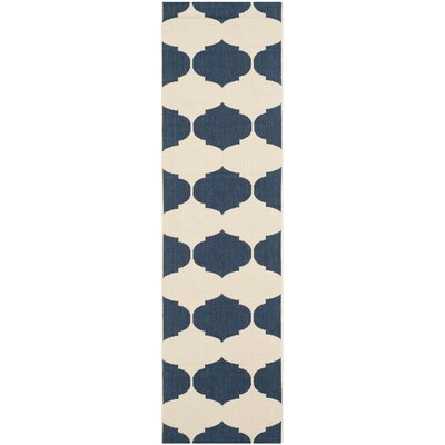 Short Beige/Navy Contemporary Rug Rug Size: Runner 23 x 8