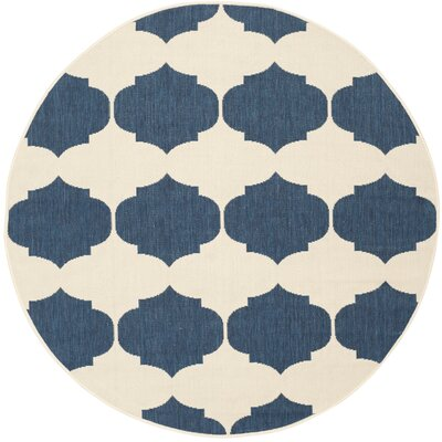 Short Beige/Navy Contemporary Rug Rug Size: Round 53