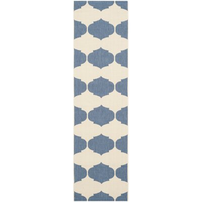 Short Beige/Blue Contemporary Rug Rug Size: Runner 23 x 12