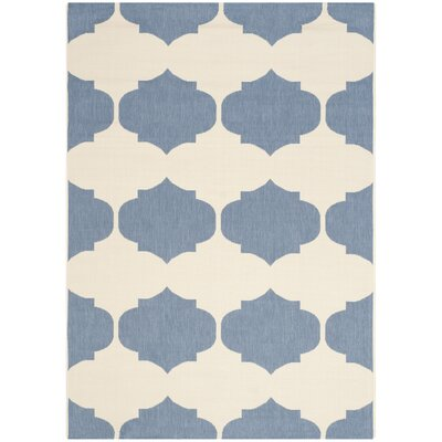 Short Beige/Blue Contemporary Rug Rug Size: Rectangle 53 x 77