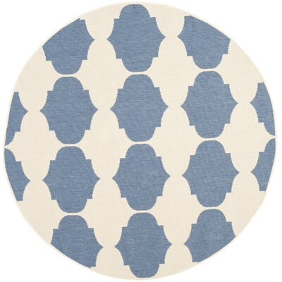 Short Beige/Blue Contemporary Rug Rug Size: Round 53