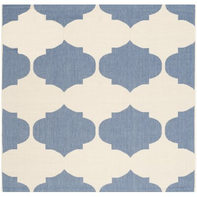 Short Beige/Blue Contemporary Rug Rug Size: Square 53