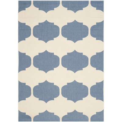 Short Beige/Blue Contemporary Rug Rug Size: Rectangle 67 x 96