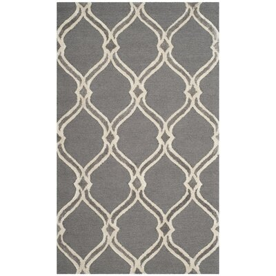 Garrison Hand-Tufted Dark Gray/Ivory Area Rug Rug Size: Rectangle 5 x 8