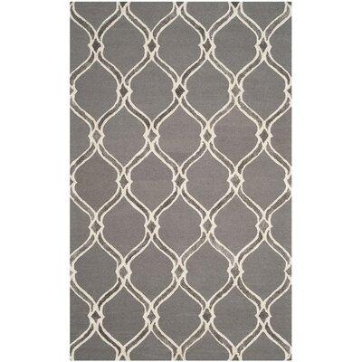 Garrison Hand-Tufted Dark Gray/Ivory Area Rug Rug Size: 5 x 8