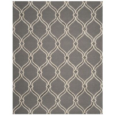 Greenmont Hand-Tufted Dark Gray/Ivory Area Rug Rug Size: 8 x 10