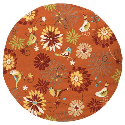 Cynthia Orange Outdoor Rug Rug Size: Round 8'