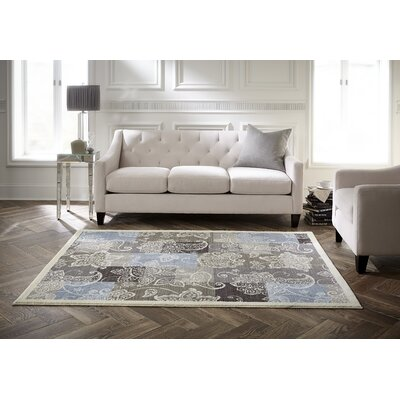 Westwood Floral Blocks Blue/Gray/Taupe Area Rug Rug Size: Rectangle 8 x 10