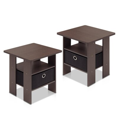 Joseph End Table with Storage Color: Dark Brown