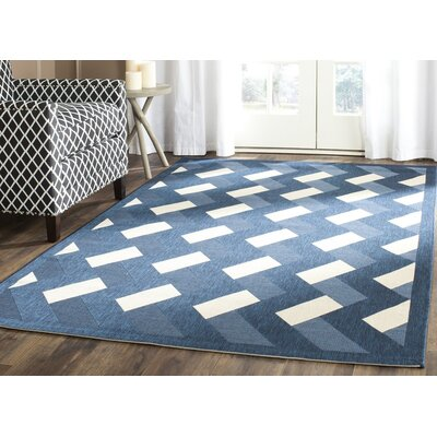Holloway Navy/Beige Indoor/Outdoor Area Rug Rug Size: 67 x 96