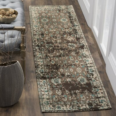 Albion Green/Beige Area Rug Rug Size: 4 x 6