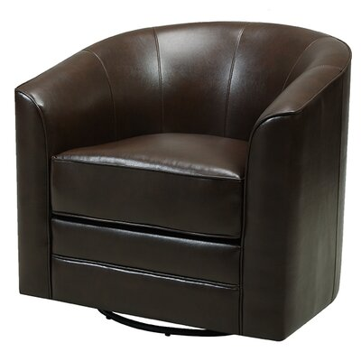 Wells Swivel Barrel Chair Upholstery: Dark Brown