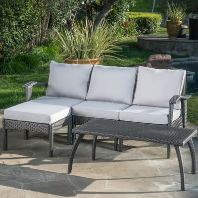 Arison 5 Piece Outdoor Deep Seating Group With Cushion Fabric: Gray