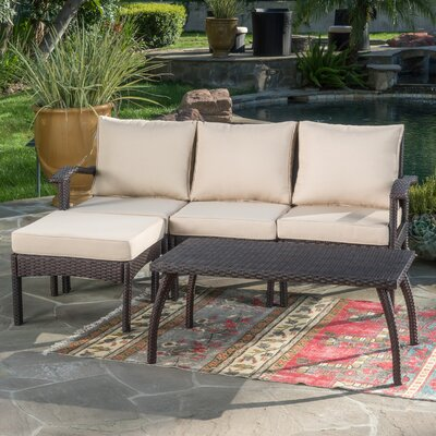Arison 5 Piece Outdoor Deep Seating Group With Cushion Fabric: Brown