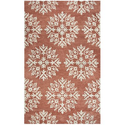 Brodie Hand-Tufted Coral/Ivory Area Rug Rug Size: Rectangle 5 x 8