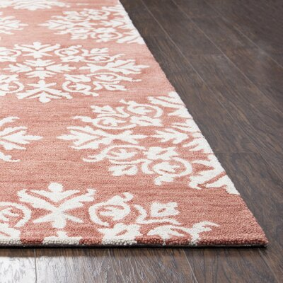 Brodie Hand-Tufted Coral/Ivory Area Rug Rug Size: Rectangle 8 x 10
