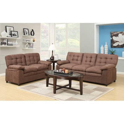 Fitzgerald Sofa and Loveseat Set Color: Brown