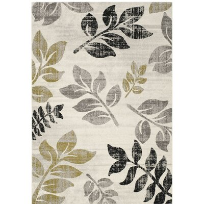 Rosario Ivory/Green Power Loom Area Rug Size: Rectangle 4 x 5x7