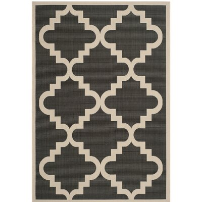 Short Ashton Black/Beige Indoor/Outdoor Area Rug Rug Size: Rectangle 53 x 77