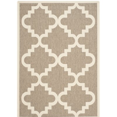 Short Ashton Brown/Beige Indoor/Outdoor Area Rug Rug Size: Rectangle 4 x 57