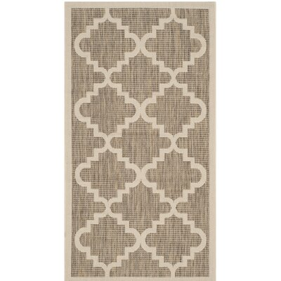 Short Ashton Brown/Beige Indoor/Outdoor Area Rug Rug Size: Rectangle 27 x 5