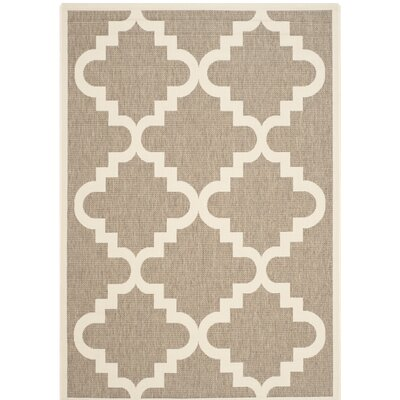 Short Ashton Brown/Beige Indoor/Outdoor Area Rug Rug Size: Rectangle 53 x 77