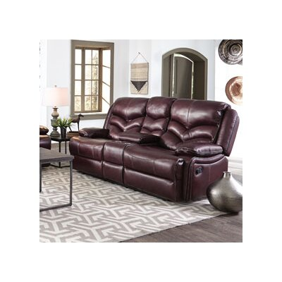 Scribner Console Manual Motion Leather Reclining Loveseat