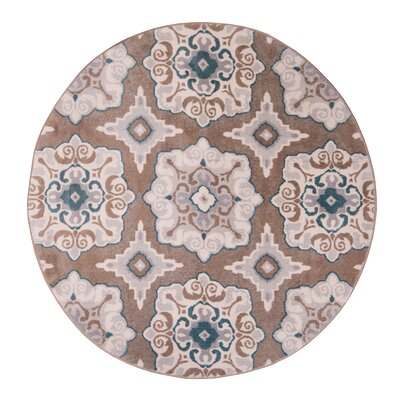 Natural Cerulean Blue/Taupe Area Rug Rug Size: Round 52