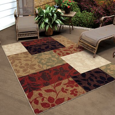 Alesha Beige/Red Indoor/Outdoor Area Rug