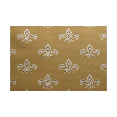Brickyard Fleur de Lis Ikat Print Gold Indoor/Outdoor Area Rug Rug Size: 3' x 5'