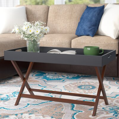 Lockheart Coffee Table with Removable Tray Color: Black