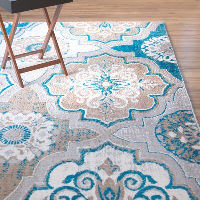 Albion Blue/Brown Area Rug Rug Size: 33 x 52