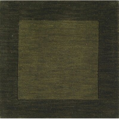Bradley Dark Green Border Area Rug Rug Size: Square 8
